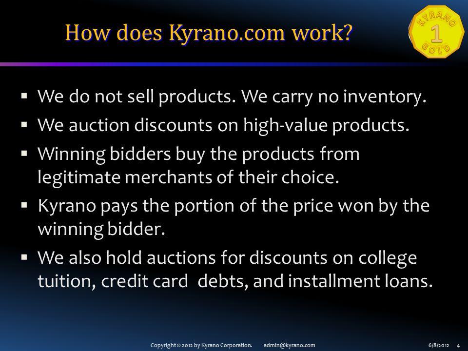 Copyright © 2012 by Kyrano Corporation.admin@kyrano.com6/8/2012 5 How does Kyrano.com work.