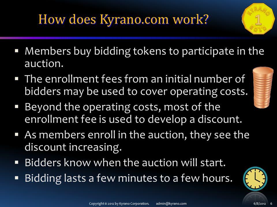 Copyright © 2012 by Kyrano Corporation. admin@kyrano.com6/8/2012 7 Enrollment page for an auction