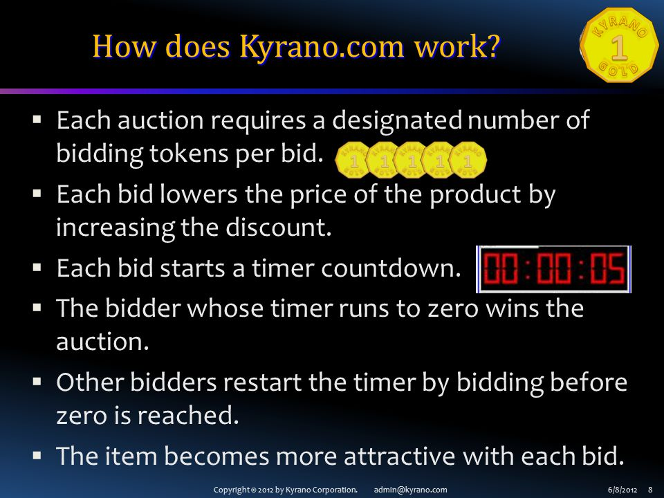 Copyright © 2012 by Kyrano Corporation. admin@kyrano.com6/8/2012 8 How does Kyrano.com work.