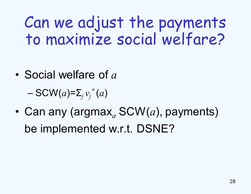 Social welfare of a –SCW( a )=Σ j v j * ( a ) Can any (argmax a SCW( a ), payments) be implemented w.r.t.