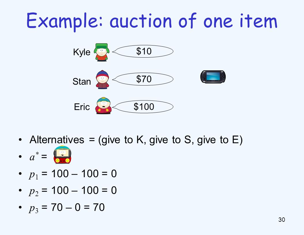 Alternatives = (give to K, give to S, give to E) a * = p 1 = 100 – 100 = 0 p 2 = 100 – 100 = 0 p 3 = 70 – 0 = 70 30 Example: auction of one item Kyle