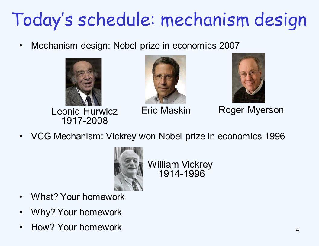 Mechanism design: Nobel prize in economics 2007 VCG Mechanism: Vickrey won Nobel prize in economics 1996 What? Your homework Why? Your homework How? Y