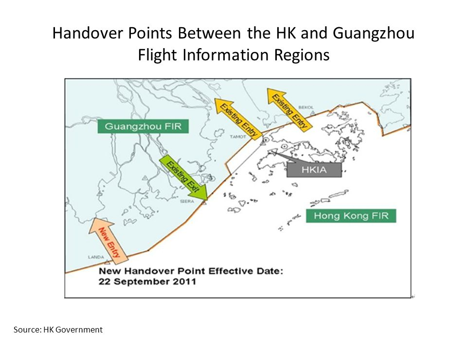 Handover Points Between the HK and Guangzhou Flight Information Regions Source: HK Government