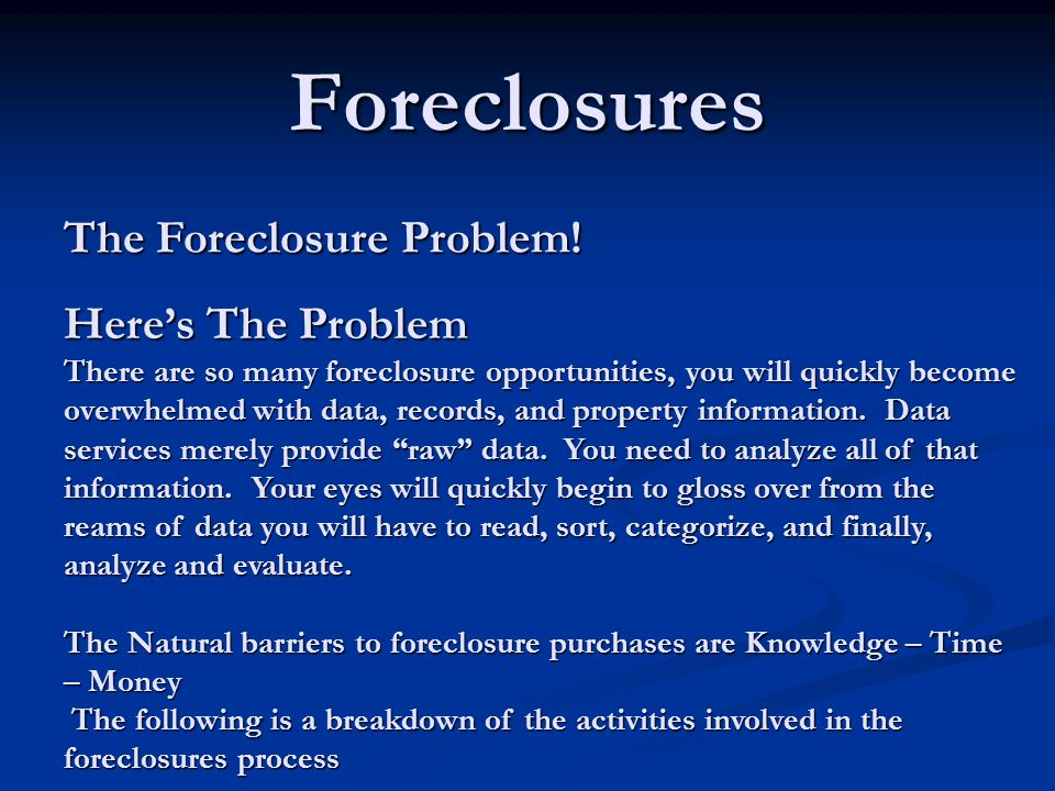 The Foreclosure Problem.