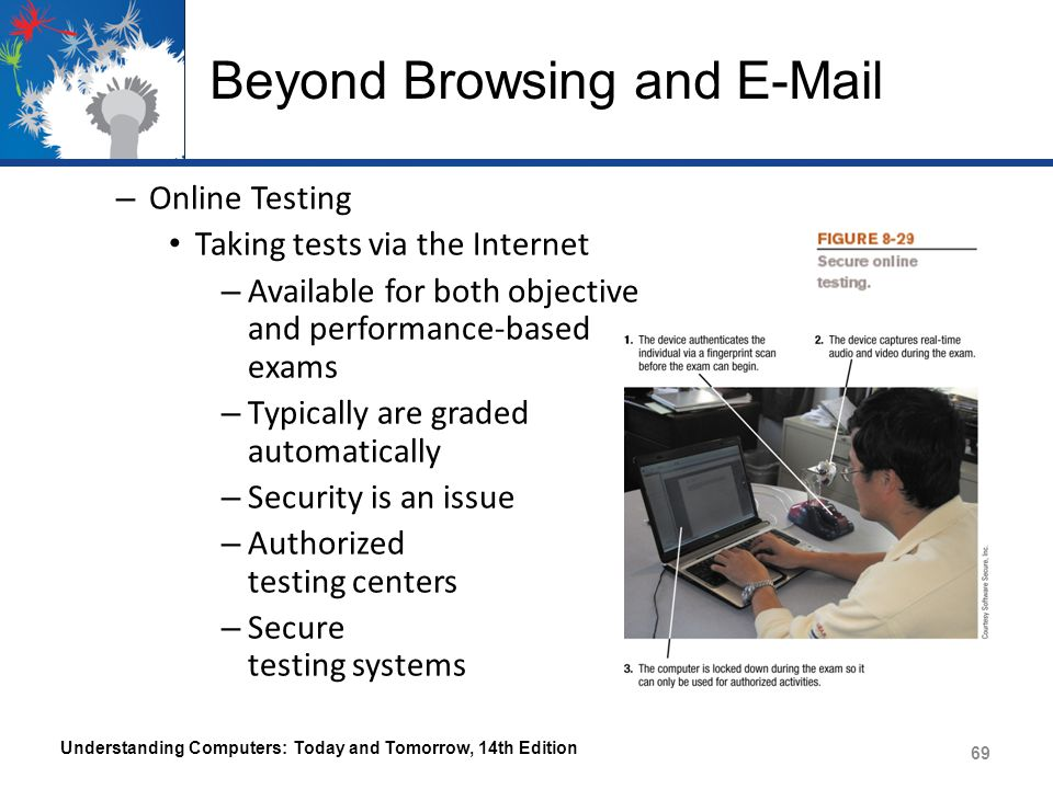 Beyond Browsing and E-Mail – Online Testing Taking tests via the Internet – Available for both objective and performance-based exams – Typically are graded automatically – Security is an issue – Authorized testing centers – Secure testing systems Understanding Computers: Today and Tomorrow, 14th Edition 69