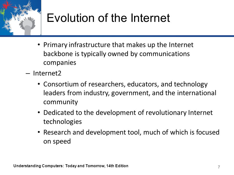 Evolution of the Internet Primary infrastructure that makes up the Internet backbone is typically owned by communications companies – Internet2 Consortium of researchers, educators, and technology leaders from industry, government, and the international community Dedicated to the development of revolutionary Internet technologies Research and development tool, much of which is focused on speed Understanding Computers: Today and Tomorrow, 14th Edition 7