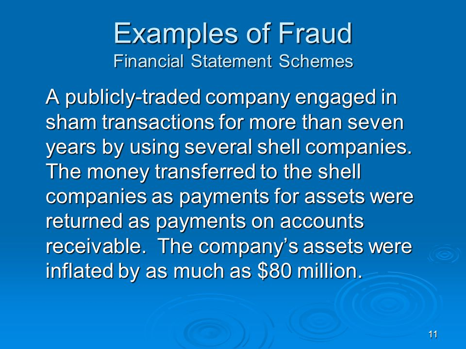 11 Examples of Fraud Financial Statement Schemes A publicly-traded company engaged in sham transactions for more than seven years by using several shell companies.