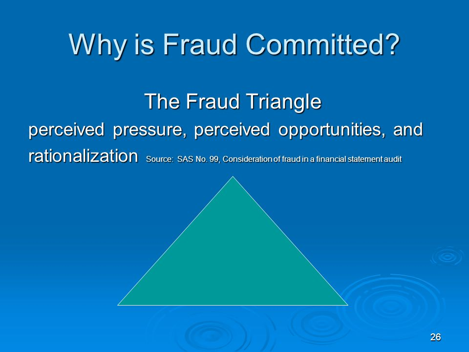 26 Why is Fraud Committed? The Fraud Triangle The Fraud Triangle perceived pressure, perceived opportunities, and rationalization Source: SAS No. 99,