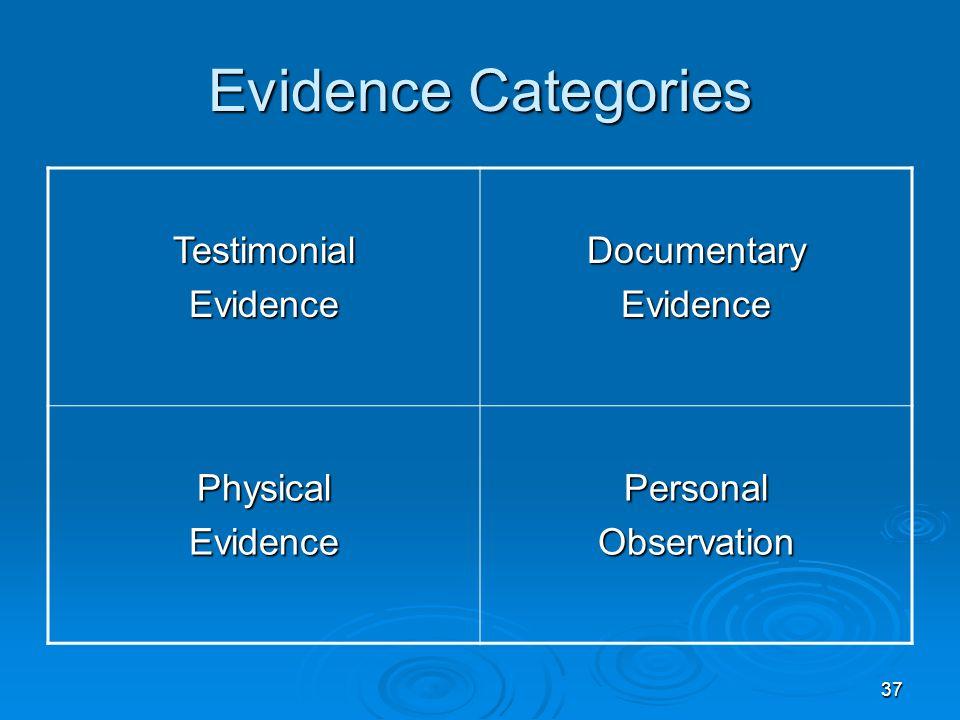 37 Evidence Categories TestimonialEvidenceDocumentaryEvidence PhysicalEvidencePersonalObservation