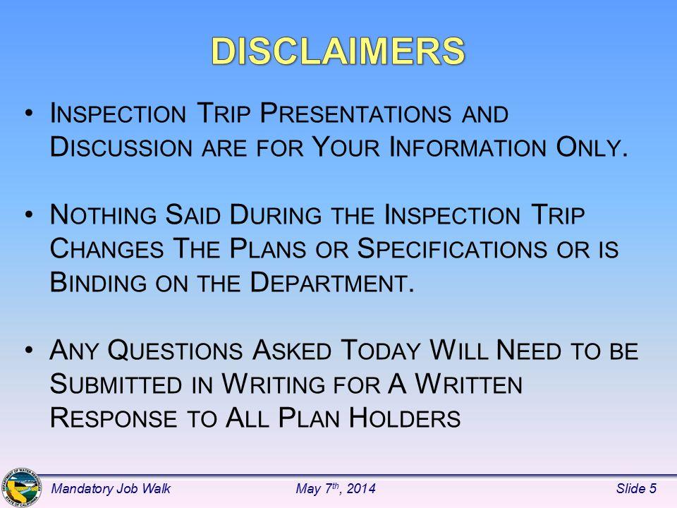 Section 01300 – Read Specification Mandatory Job WalkMay 7 th, 2014Slide 26