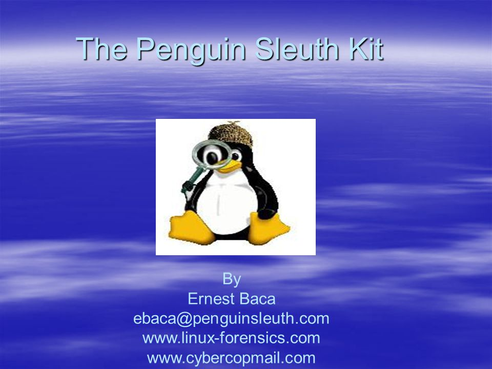 The Penguin Sleuth Kit By Ernest Baca ebaca@penguinsleuth.com www.linux-forensics.com www.cybercopmail.com