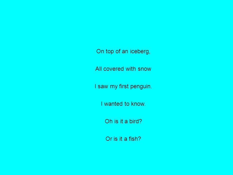 On top of an iceberg, All covered with snow I saw my first penguin. I wanted to know. Oh is it a bird? Or is it a fish?