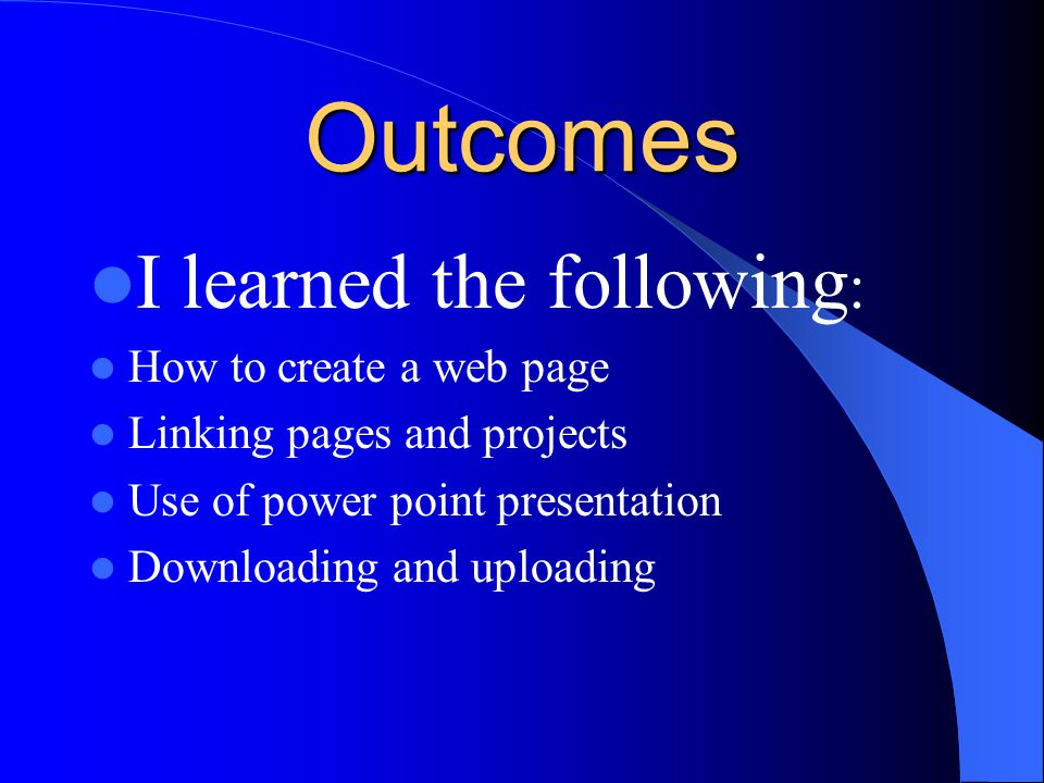 Expectations Learn how to put a lesson on the web Meet new people at various grade levels Create a lesson that students will enjoy Use excel Use power point