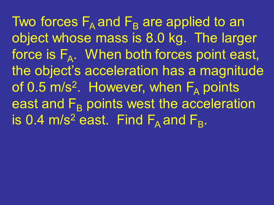 Two forces F A and F B are applied to an object whose mass is 8.0 kg. The larger force is F A. When both forces point east, the object's acceleration