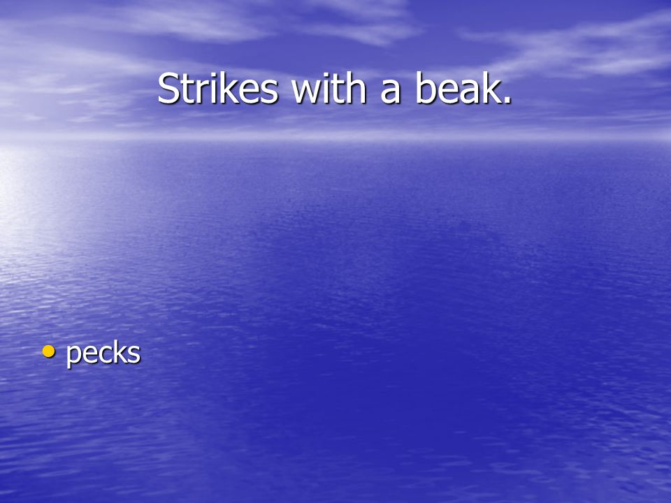 Strikes with a beak. pecks pecks