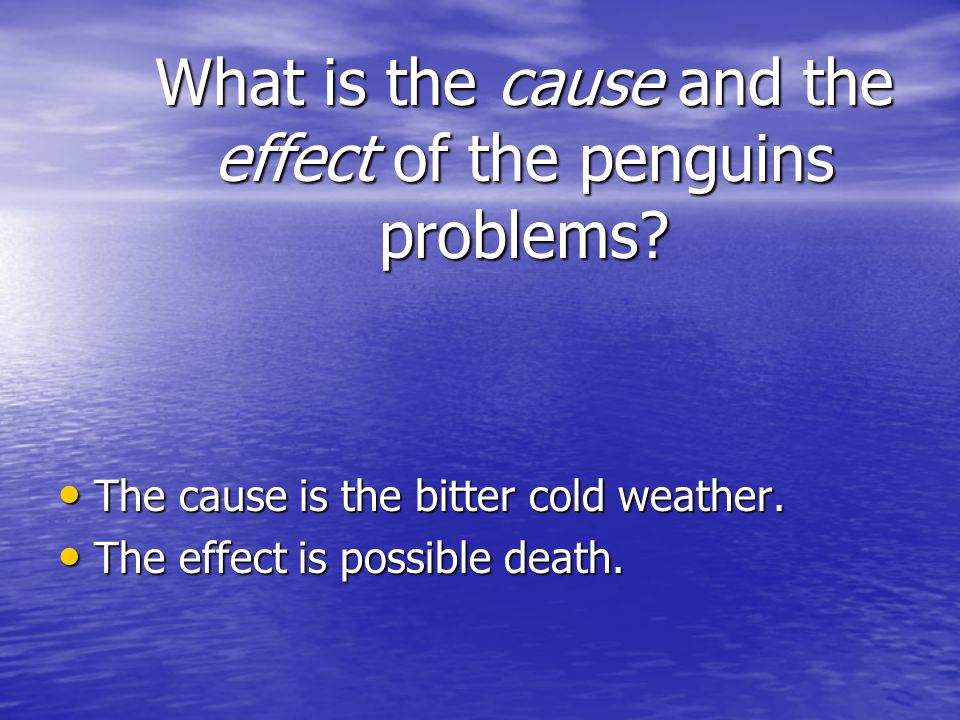 What is the cause and the effect of the penguins problems.