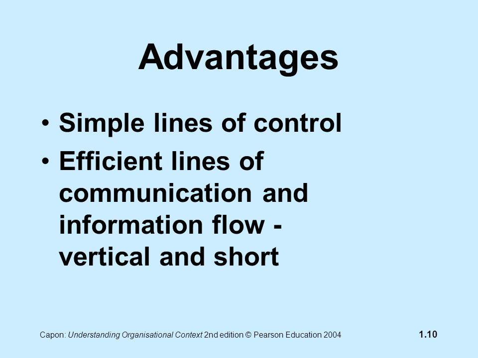 Capon: Understanding Organisational Context 2nd edition © Pearson Education 2004 1.10 Advantages Simple lines of control Efficient lines of communication and information flow - vertical and short
