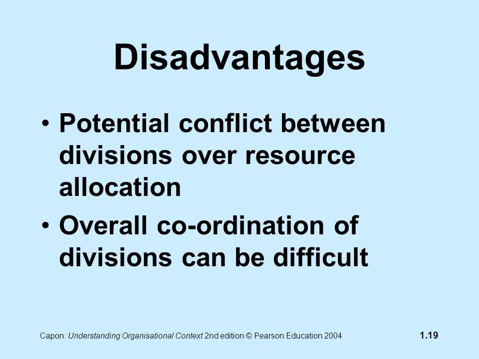 Capon: Understanding Organisational Context 2nd edition © Pearson Education 2004 1.19 Disadvantages Potential conflict between divisions over resource allocation Overall co-ordination of divisions can be difficult