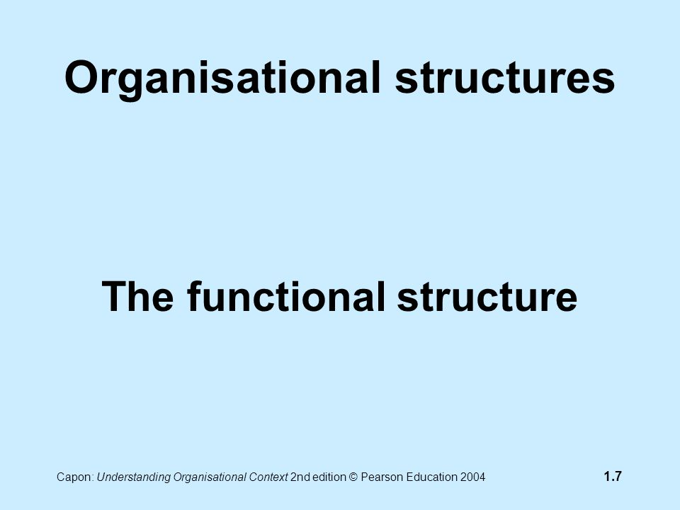 Capon: Understanding Organisational Context 2nd edition © Pearson Education 2004 1.7 Organisational structures The functional structure
