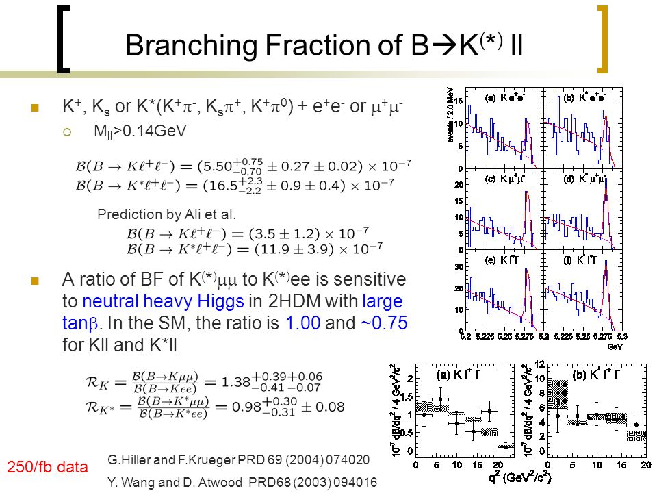 Branching Fraction of B  K ( * ) ll K +, K s or K*(K +  -, K s  +, K +  0 ) + e + e - or  +  -  M ll >0.14GeV A ratio of BF of K ( * )  to K ( * ) ee is sensitive to neutral heavy Higgs in 2HDM with large tan .