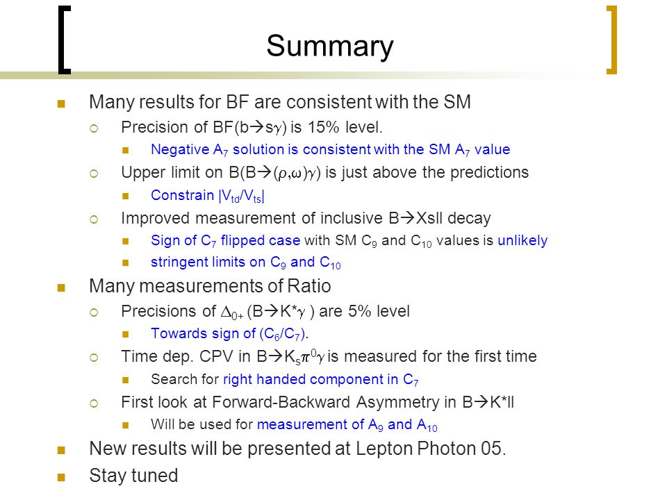 Summary Many results for BF are consistent with the SM  Precision of BF(b  s  ) is 15% level.