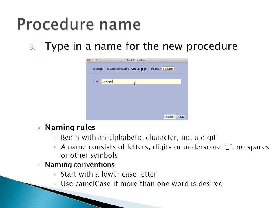 3. Type in a name for the new procedure  Naming rules ◦ Begin with an alphabetic character, not a digit ◦ A name consists of letters, digits or under