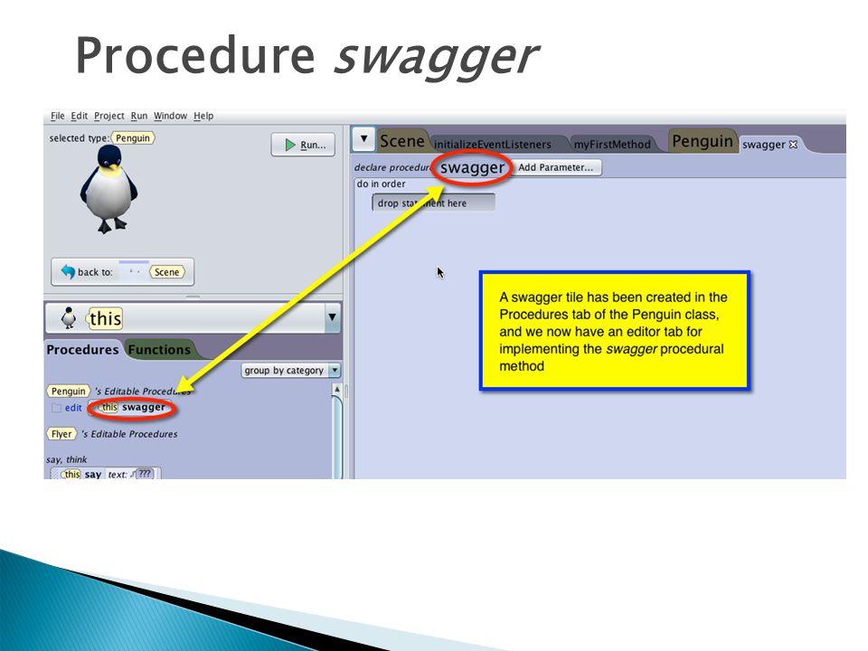 Procedure swagger