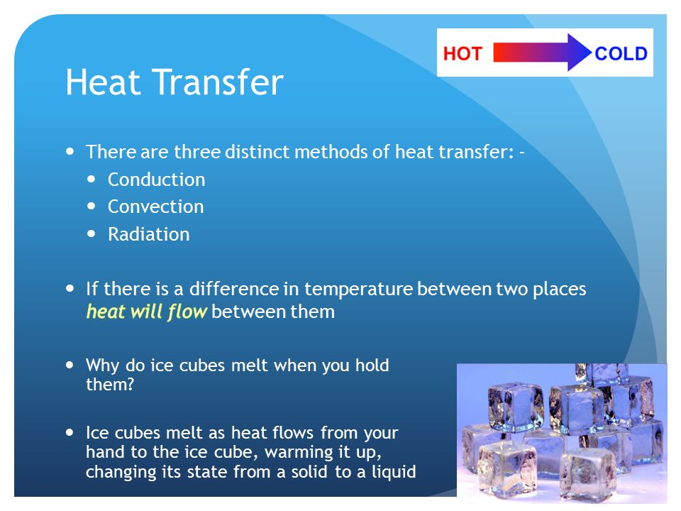 Heat Transfer Why do ice cubes melt when you hold them.
