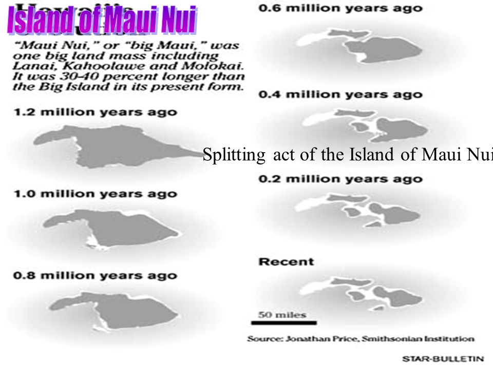Splitting act of the Island of Maui Nui Island