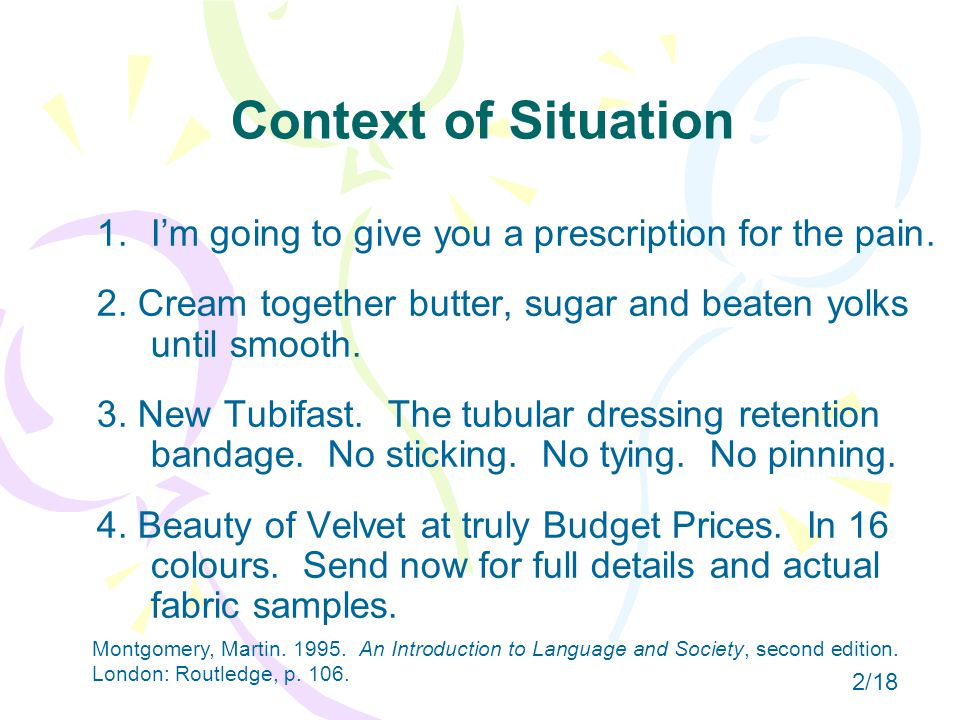 Context of Situation 1. 1.I'm going to give you a prescription for the pain.