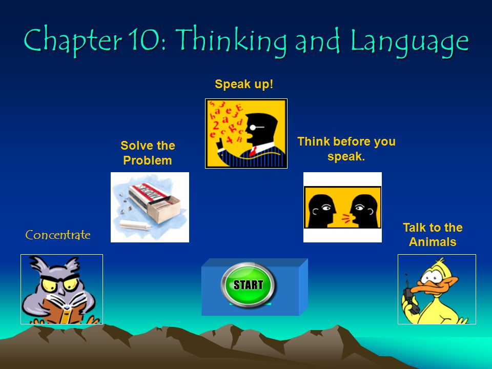 Chapter 10: Thinking and Language Concentrate Solve the Problem Speak up.