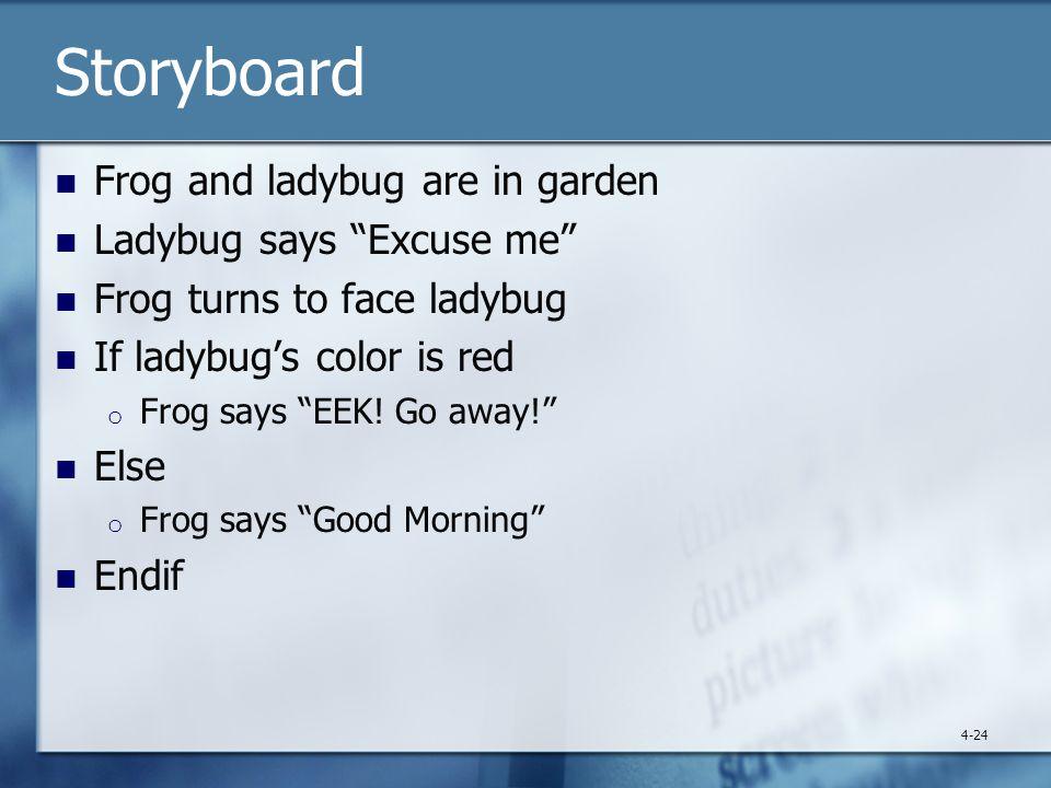 Storyboard Frog and ladybug are in garden Ladybug says Excuse me Frog turns to face ladybug If ladybug's color is red o Frog says EEK.