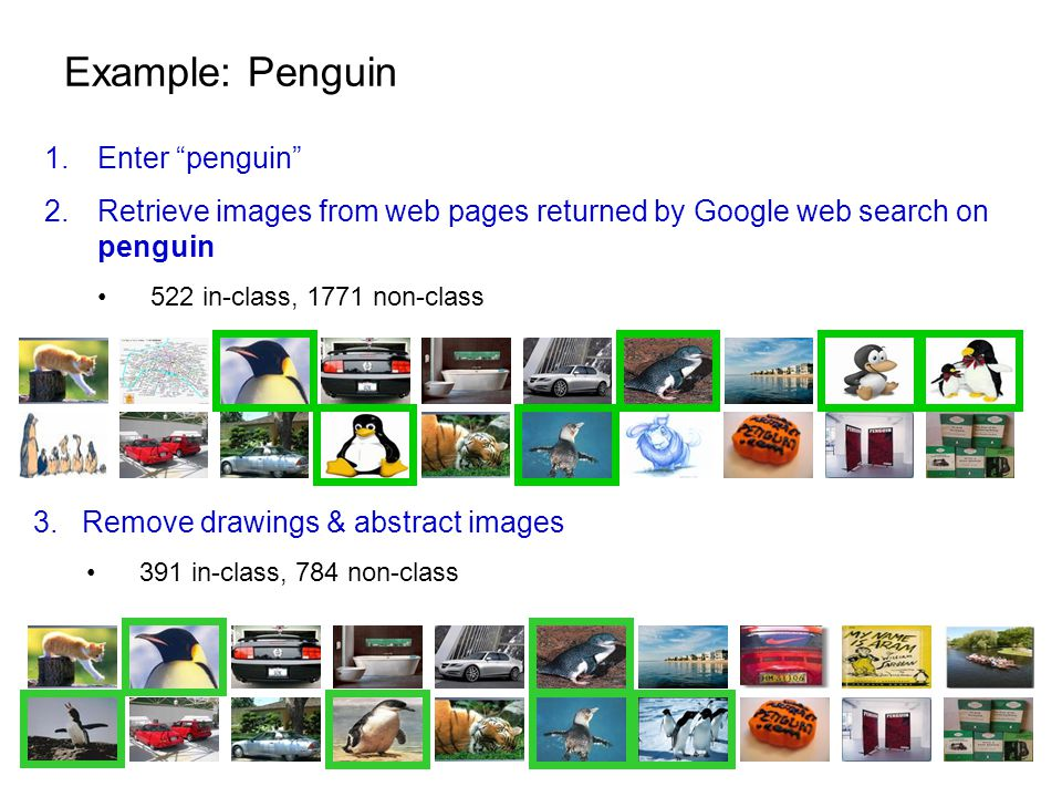 Example: Penguin 1.Enter penguin 2.Retrieve images from web pages returned by Google web search on penguin 522 in-class, 1771 non-class 3.