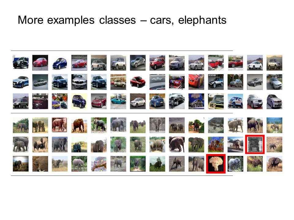 More examples classes – cars, elephants