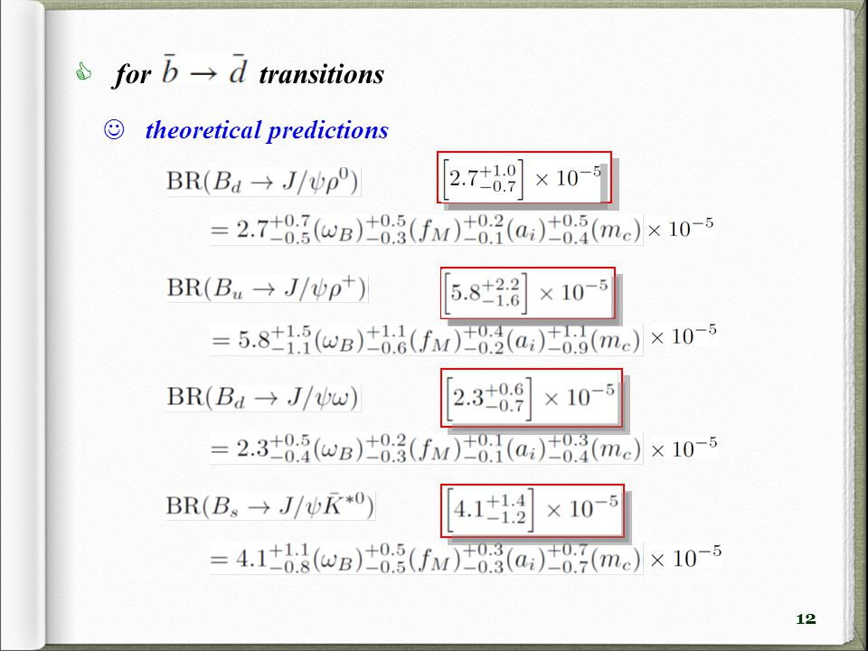 12 theoretical predictions  for transitions