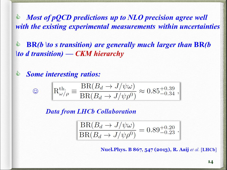 14  Most of pQCD predictions up to NLO precision agree well with the existing experimental measurements within uncertainties  BR(b \to s transition) are generally much larger than BR(b \to d transition) — CKM hierarchy  Some interesting ratios: Nucl.Phys.