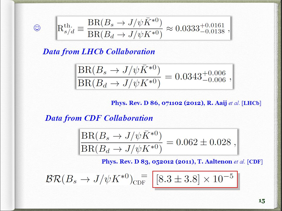 15 Data from LHCb Collaboration Data from CDF Collaboration Phys. Rev. D 86, 071102 (2012), R. Aaij et al. [LHCb] Phys. Rev. D 83, 052012 (2011), T. A