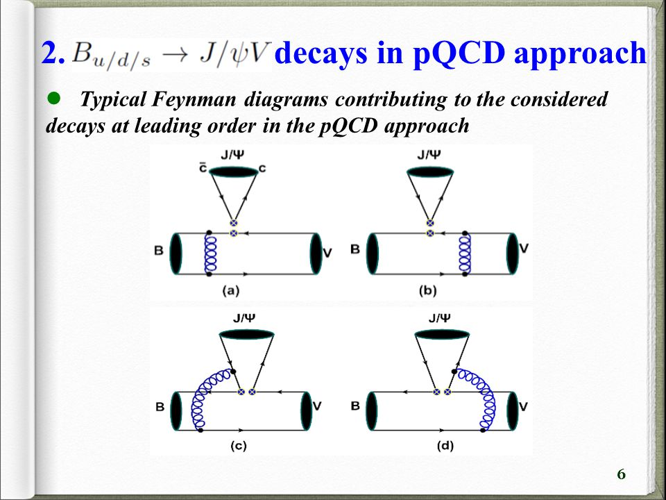 6 Typical Feynman diagrams contributing to the considered decays at leading order in the pQCD approach 2.
