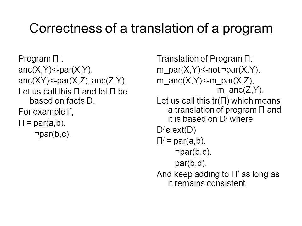 Correctness of a translation of a program Program Π : anc(X,Y)<-par(X,Y). anc(XY)<-par(X,Z), anc(Z,Y). Let us call this Π and let Π be based on facts