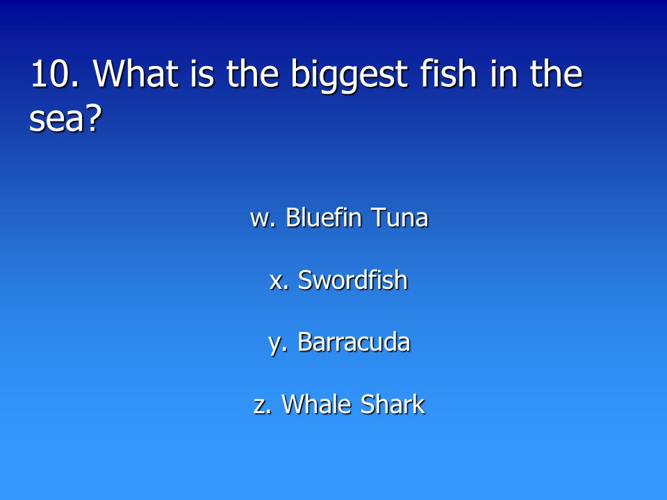 10. What is the biggest fish in the sea? w. Bluefin Tuna x. Swordfish y. Barracuda z. Whale Shark