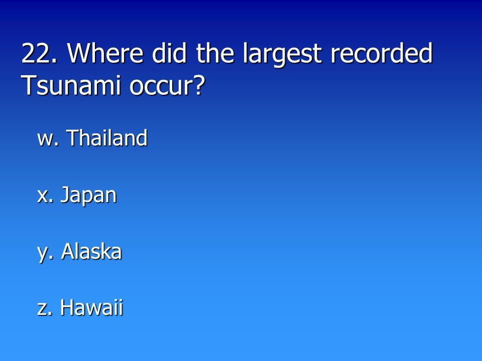 22. Where did the largest recorded Tsunami occur w. Thailand x. Japan y. Alaska z. Hawaii