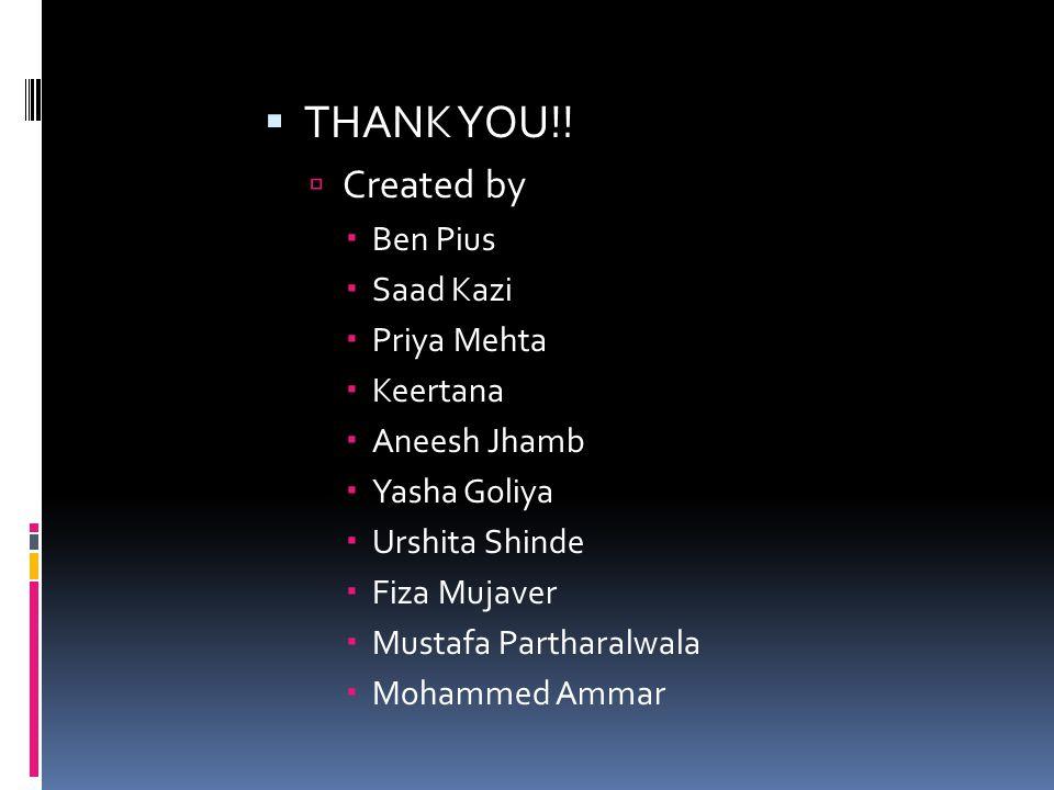 THANK YOU!!  Created by  Ben Pius  Saad Kazi  Priya Mehta  Keertana  Aneesh Jhamb  Yasha Goliya  Urshita Shinde  Fiza Mujaver  Mustafa Par
