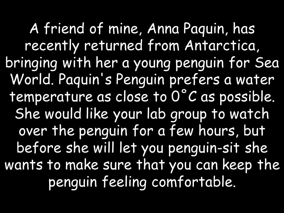 A friend of mine, Anna Paquin, has recently returned from Antarctica, bringing with her a young penguin for Sea World.