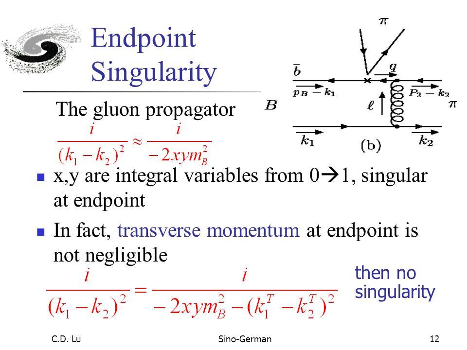 C.D. LuSino-German11 Feynman Diagram Calculation Wave function k 2 =m B (y,0,k 2 T ), k 1 =m B (0,x,k 1 T ) k 2 ·k 1 = k 2 + k 1 – - k 2 T ·k 1 T ≈ m
