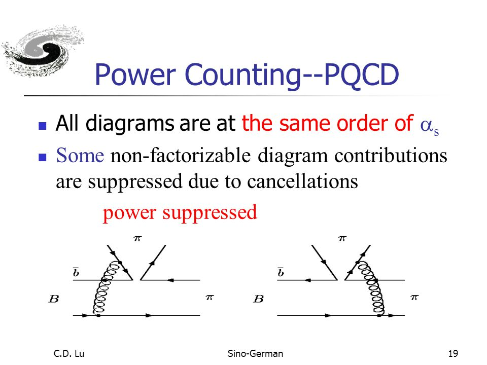 C.D. LuSino-German18 Power Counting--QCDF Form factor diagrams are leading All others are  s suppressed Annihilation-type are even power suppressed (