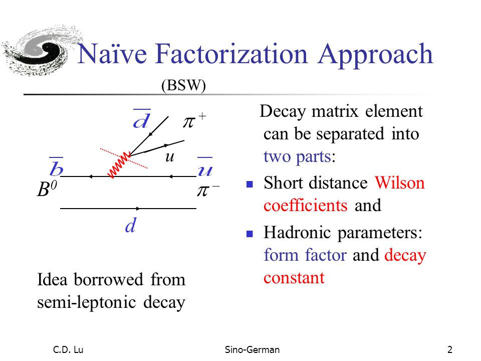 C.D. LuSino-German1 Hadronic B Decays in Perturbative QCD Approach Formalism of perturbative QCD (PQCD) based on k T factorization Direct CP asymmetry