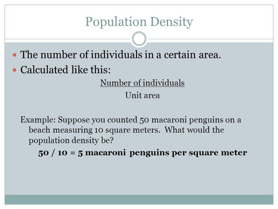 Population Density The number of individuals in a certain area.
