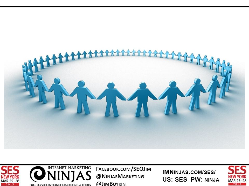 F ACEBOOK. COM /SEOJ IM @N INJAS M ARKETING @J IM B OYKIN IMN INJAS. COM / SES / US: SES PW: NINJA