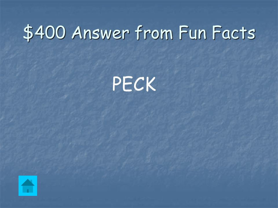 $400 Question from Fun Facts A baby penguin must ______ it's way out of the shell.
