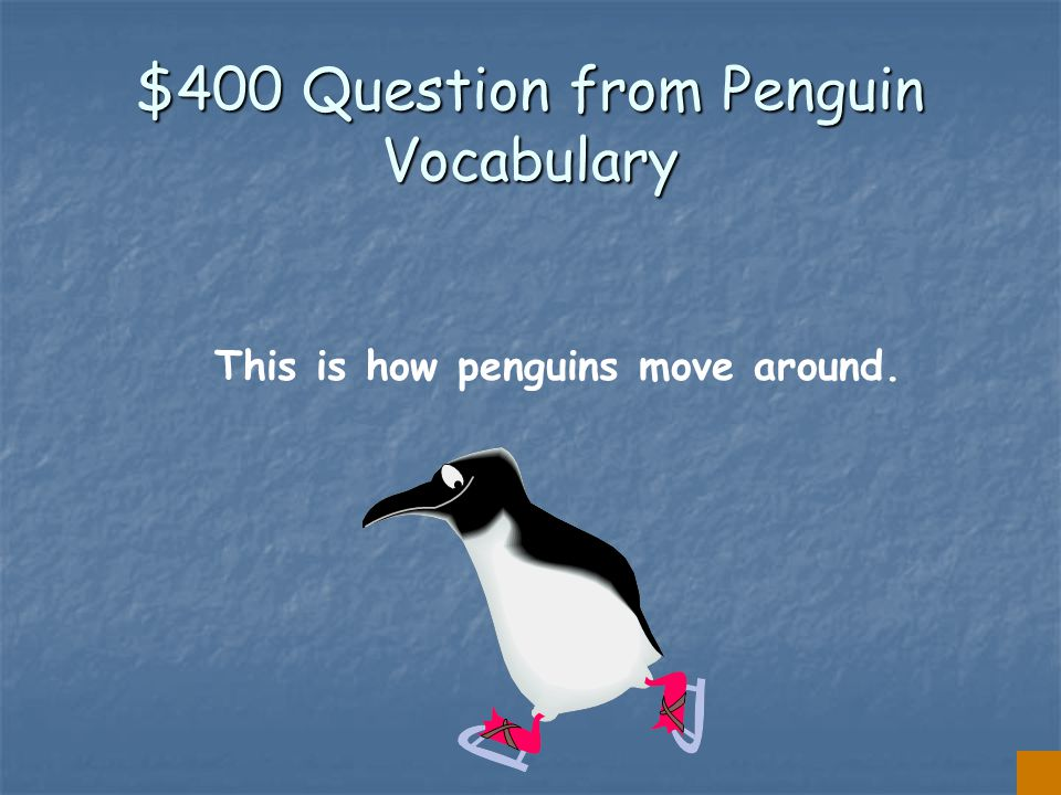 $300 Answer from Penguin Vocabulary BLUBBER